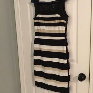 Black, white and tan knee length fitted dress